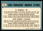 1965 Topps #331   -  Al Ferrara / John Purdin Dodgers Rookies Back Thumbnail