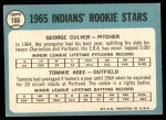 1965 Topps #166   -  Tommie Agee / George Culver Indians Rookies Back Thumbnail