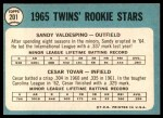 1965 Topps #201   -  Cesar Tovar / Sandy Valdespino Twins Rookies Back Thumbnail