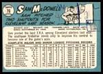 1965 Topps #76  Sam McDowell  Back Thumbnail