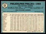 1965 Topps #338   Phillies Team Back Thumbnail