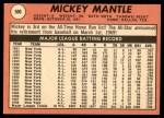 1969 Topps #500 YN Mickey Mantle  Back Thumbnail