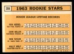 1963 Topps #208   -  Ron Herbel / John Miller / Wally Wolf / Ron Taylor Rookie Stars   Back Thumbnail