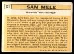 1963 Topps #531  Sam Mele  Back Thumbnail