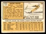 1963 Topps #117  Jacke Davis  Back Thumbnail