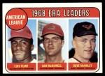 1969 Topps #7   -  Luis Tiant / Sam McDowell / Dave McNally AL ERA Leaders Front Thumbnail