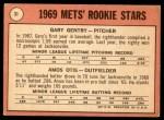 1969 Topps #31   -  Amos Otis / Gary Gentry Mets Rookies Back Thumbnail