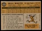 1960 Topps #355  Bill White  Back Thumbnail