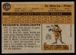 1960 Topps #150  Bill Pierce  Back Thumbnail