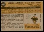 1960 Topps #492  Larry Jackson  Back Thumbnail