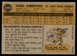 1960 Topps #545  Carl Sawatski  Back Thumbnail