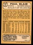 1968 Topps #135  Paul Blair  Back Thumbnail