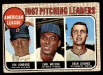 1968 Topps #10 COR  -  Dean Chance / Jim Lonborg / Earl Wilson AL Pitching Leaders Front Thumbnail