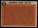 1962 Topps #140 NRM Babe Ruth / Lou Gehrig  Back Thumbnail