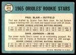1965 Topps #473   -  Paul Blair / Davey Johnson Orioles Rookies Back Thumbnail