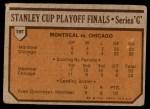 1973 Topps #197   Canadiens 4 Blackhawks 2  Back Thumbnail