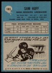 1964 Philadelphia #185  Sam Huff     Back Thumbnail