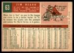 1959 Topps #63  Jim Hearn  Back Thumbnail