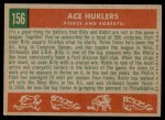 1959 Topps #156   -  Robin Roberts / Billy Pierce Ace Hurlers Back Thumbnail
