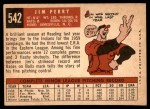 1959 Topps #542  Jim Perry  Back Thumbnail
