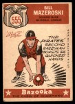 1959 Topps #555   -  Bill Mazeroski All-Star Back Thumbnail