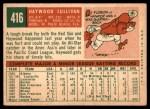 1959 Topps #416 DOT Haywood Sullivan  Back Thumbnail