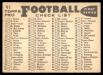 1959 Topps #91   Redskins Team Checklist Back Thumbnail