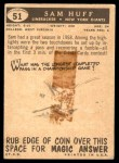 1959 Topps #51  Sam Huff  Back Thumbnail