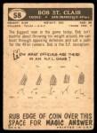 1959 Topps #58  Bob St. Clair  Back Thumbnail