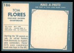 1961 Topps #186  Tom Flores  Back Thumbnail
