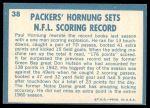 1961 Topps #38   -  Paul Hornung 1960 Football Highlights Back Thumbnail