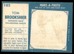 1961 Topps #102  Tom Brookshier  Back Thumbnail