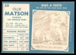 1961 Topps #50  Ollie Matson  Back Thumbnail