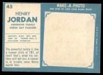 1961 Topps #45  Hank Jordan  Back Thumbnail