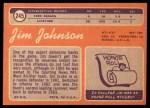 1970 Topps #245  Jimmy Johnson  Back Thumbnail