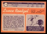 1970 Topps #113 BLK Lance Rentzel   Back Thumbnail
