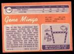 1970 Topps #148  Gene Mingo  Back Thumbnail