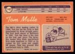 1970 Topps #142  Tom Matte  Back Thumbnail