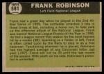 1961 Topps #581   -  Frank Robinson All-Star Back Thumbnail
