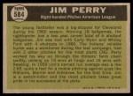 1961 Topps #584   -  Jim Perry All-Star Back Thumbnail