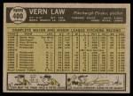 1961 Topps #400  Vern Law  Back Thumbnail