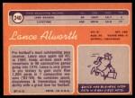 1970 Topps #240  Lance Alworth  Back Thumbnail