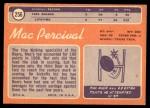1970 Topps #256  Mac Percival  Back Thumbnail