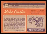 1970 Topps #201  Mike Curtis  Back Thumbnail