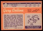 1970 Topps #169  Gary Collins  Back Thumbnail