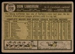 1961 Topps #338  Don Landrum  Back Thumbnail