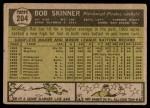 1961 Topps #204  Bob Skinner  Back Thumbnail