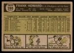 1961 Topps #280  Frank Howard  Back Thumbnail