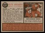 1962 Topps #131 NRM Pete Richert  Back Thumbnail