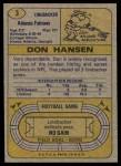 1974 Topps #3  Don Hansen  Back Thumbnail